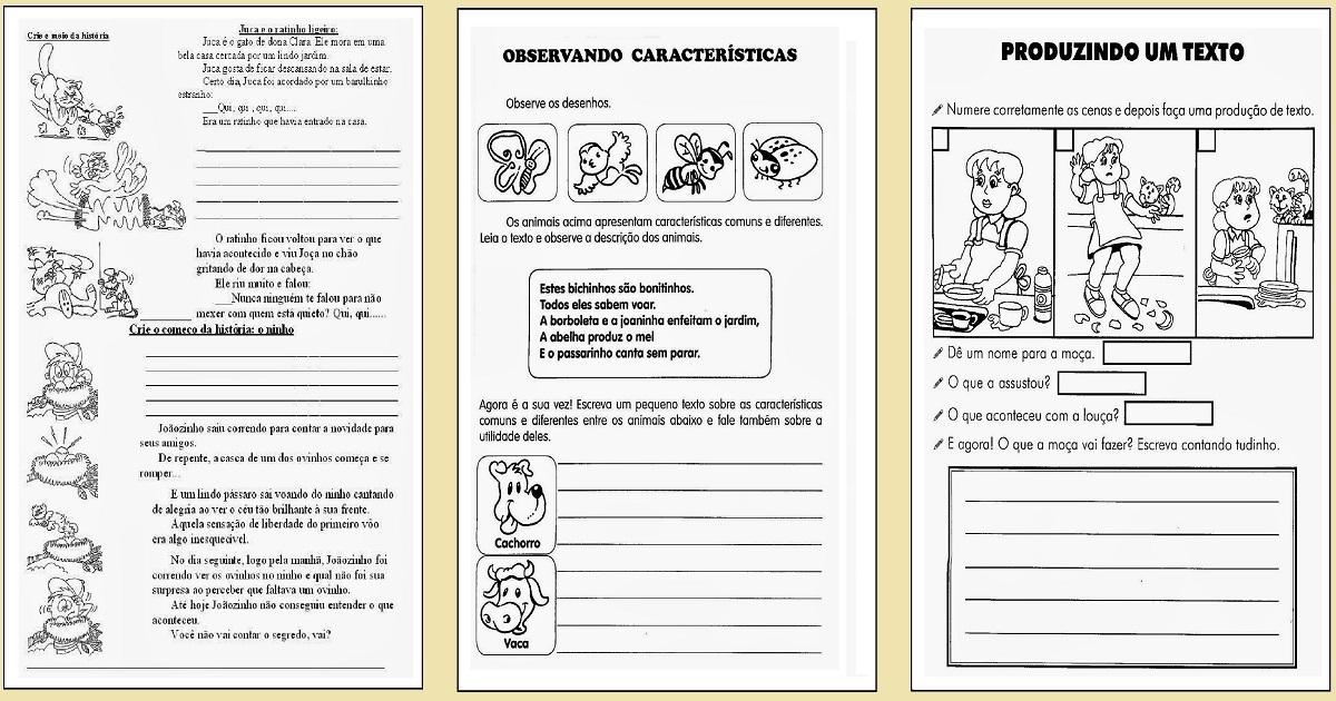 Atividades De Produção De Texto 2º Ao 5º Ano Só Escola