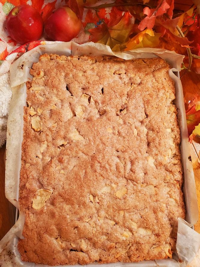 this is a sheet pan of apple brownies