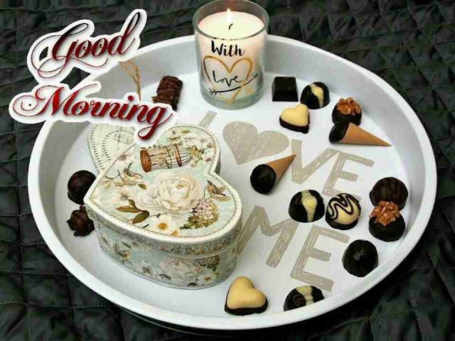 good morning image oof heart shape plate