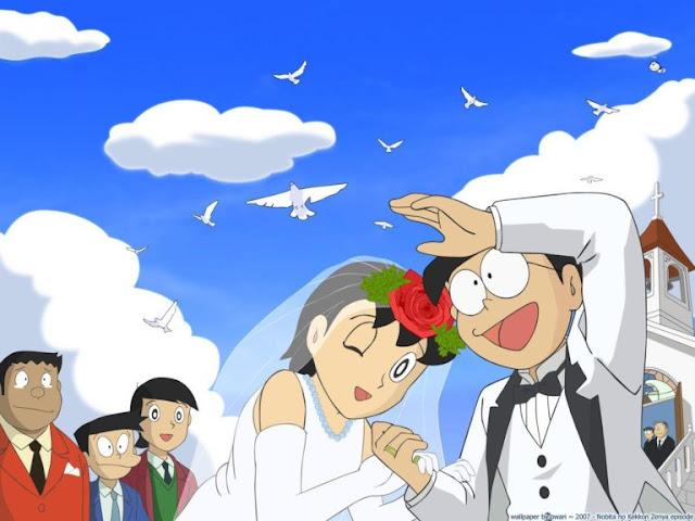 Famous Cartoon Doraemon Nobita And Shizuka Marriage HD Wallpapers