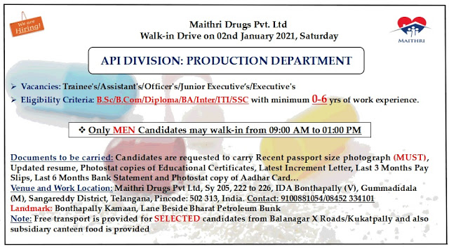 Maithri Drugs | Walk-in interview for Production on 2nd Jan 2021