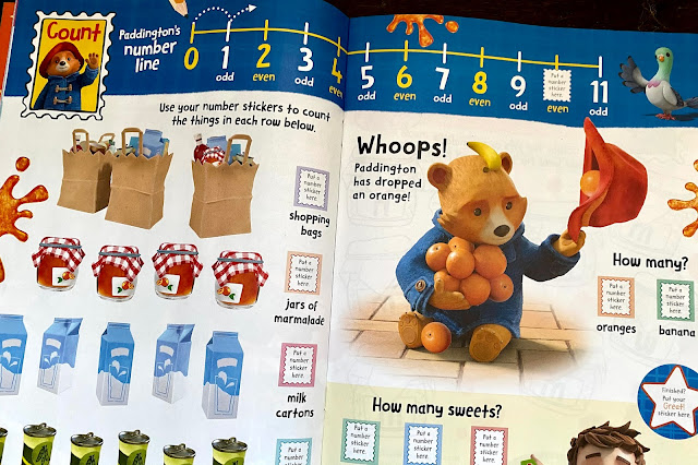 """Close up of some of the """"Count"""" page in the Adventures of Paddington magazine"""