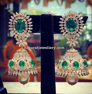 Trendy Diamond Jhumkas by Sri Mahalaxmi jewellers