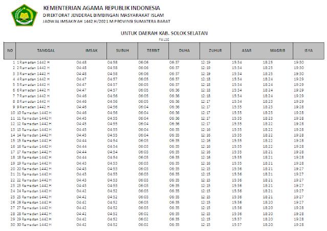 Jadwal Imsakiyah Ramadhan 1442 H Kabupaten Solok Selatan, Sumatera Barat
