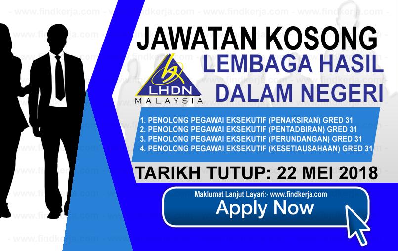 Jawatan Kerja Kosong LHDN - Lembaga Hasil Dalam Negeri logo www.findkerja.com mei 2018