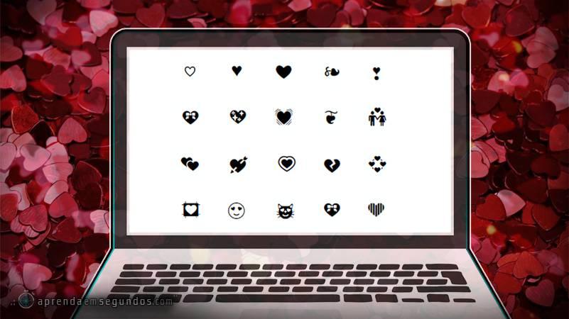 Caracteres, emojis e símbolos de coração