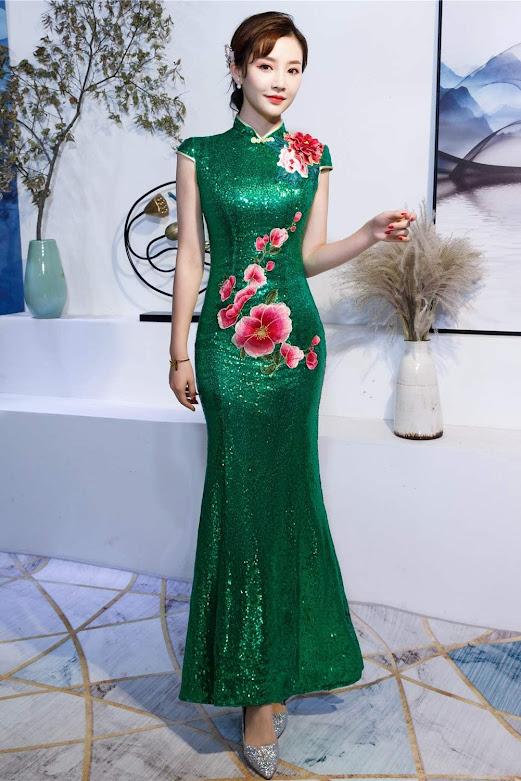 Green Cheongsam Qipao Dresses Mandarin Gown