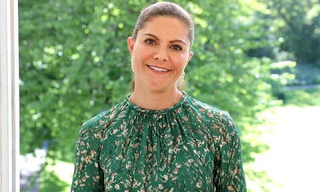 Crown Princess Victoria wore a floral dress by H&M Conscious Exclusive Collection, and rose gold poppy diamonds earrings by Kreuger