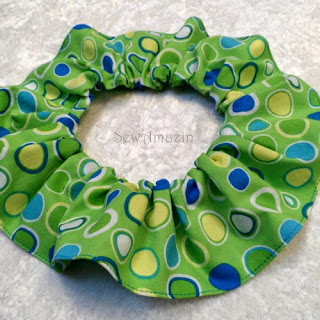 Green Dots Ovals Easter Dog Scrunchie Neck Ruffle