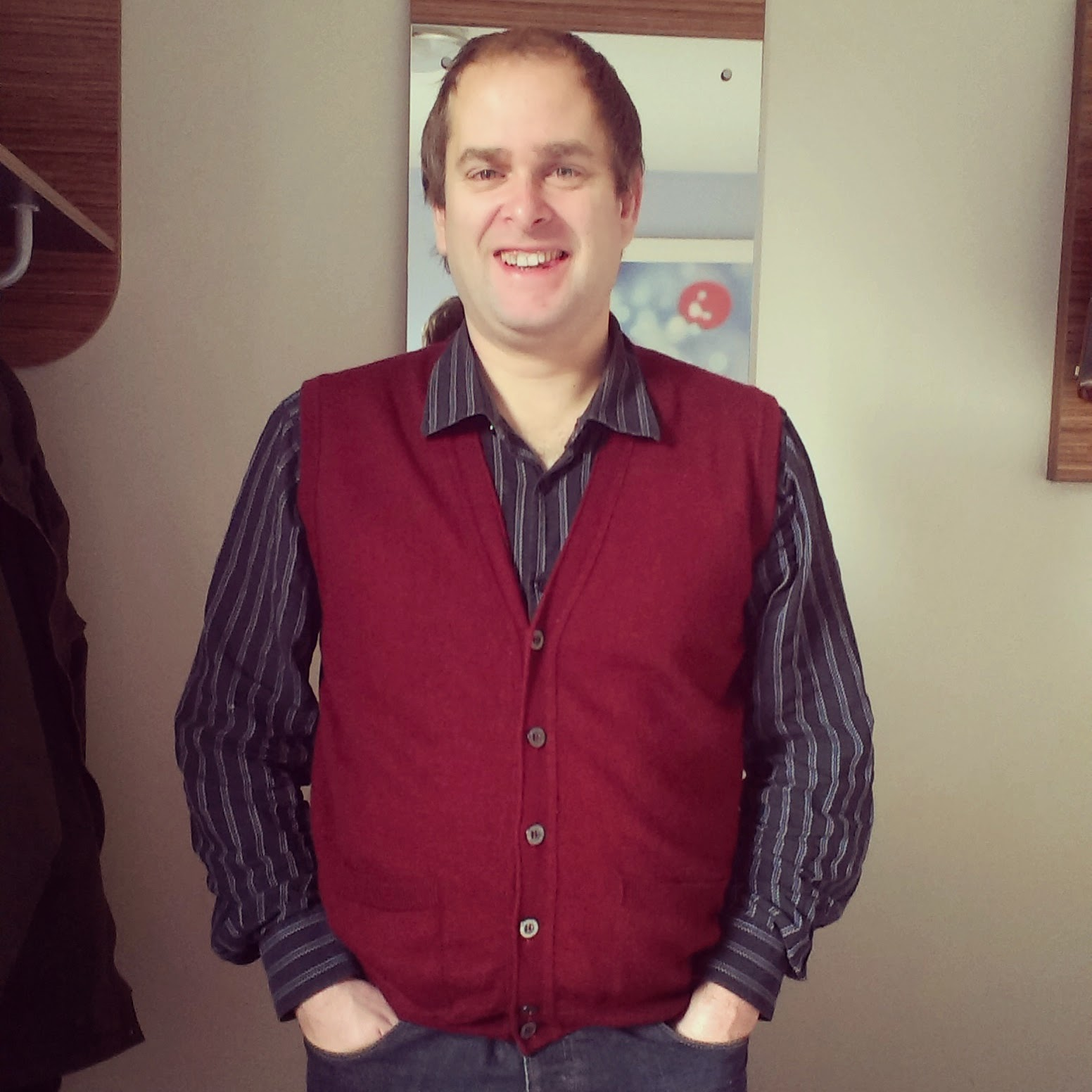 10am - Andrew wearing a Wolsey waistcoat