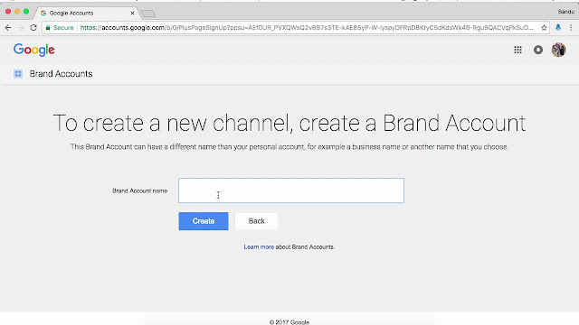 Create Brand account YouTube Channel