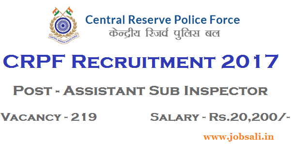 CRPF Upcoming vacancy 2017, CRPF Sub Inspector, CRPF Vacancy