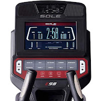 "Sole E98 elliptical trainer console with 10"" TFT LCD screen, 10 programs, Bluetooth, USB port, tablet holder, cooling fans"