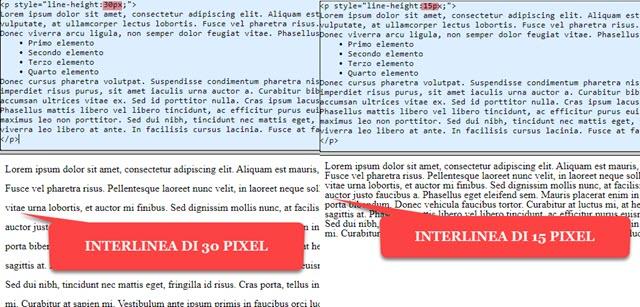 interlinea con html e css