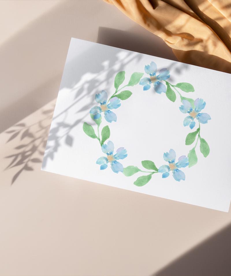 floral blue wreath