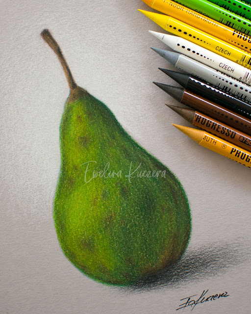 How to draw a pear with colored pencils - Step by step tutorial