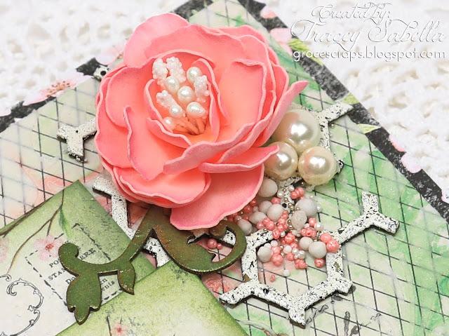 Foamiran Flower Card by Tracey Sabella ~ #Foamiran #Foamiranflowers #handmadecard #mixedmedia #mixedmediacard #shabbychic #shabbychiccard #papercrafting #finnabair #primamarketing #lindysstampgang#flowercard