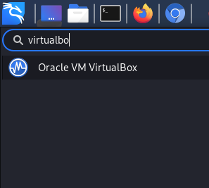 Searching for VirtualBox in Application menu