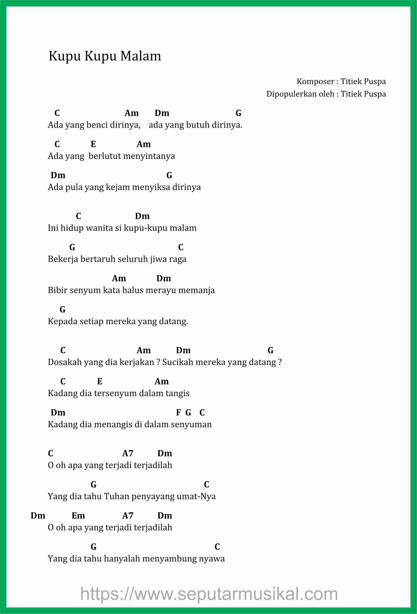 Kunci Lagu Kupu Kupu Malam : kunci, malam, Chord, Malam, Sekali
