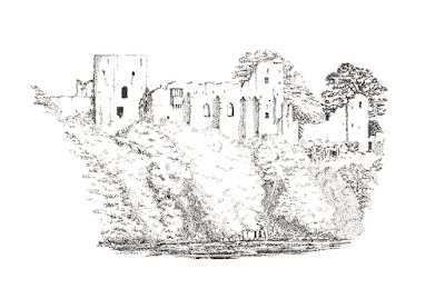 Barnard Castle, stipple illustration by Rachel M Scott