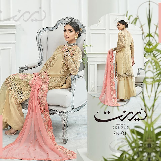 Zebtan Zeenat Collection 2020 Embroidered Chiffon with Price Buy Online