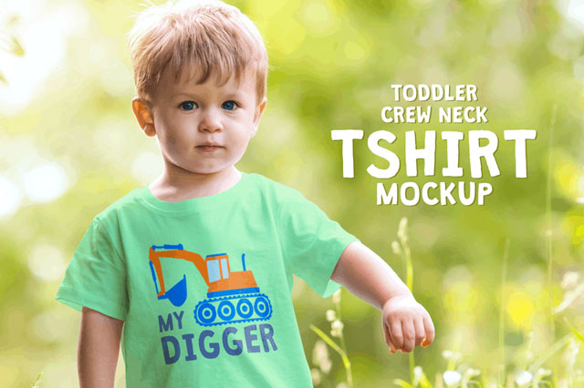 Toddler Boy Crew Neck T-shirt Mock-up