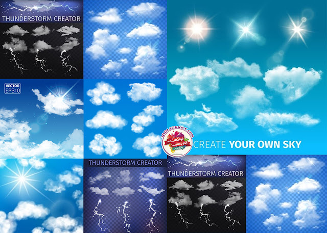 Download Images Vector white clouds and lightning
