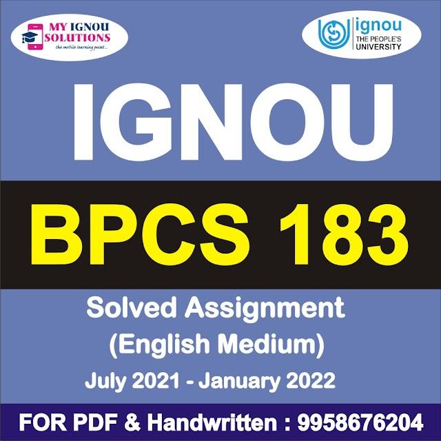 BPCS 183 Solved Assignment 2021-22