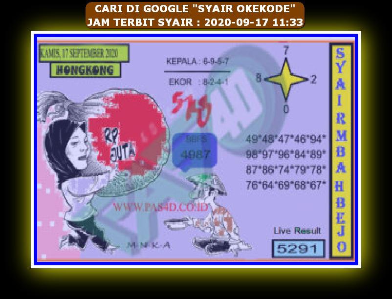 Kode syair Hongkong Kamis 17 September 2020 203