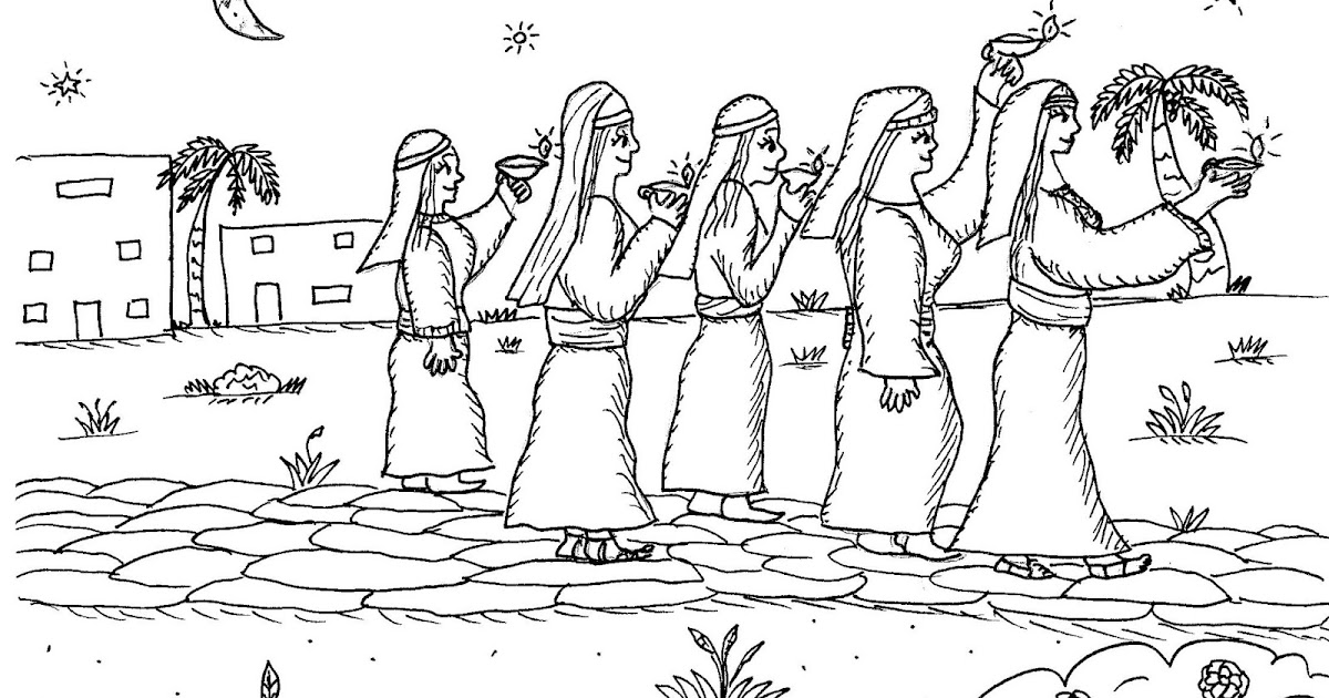 The Ten Virgins Coloring Pages - Religious Doodles | 630x1200