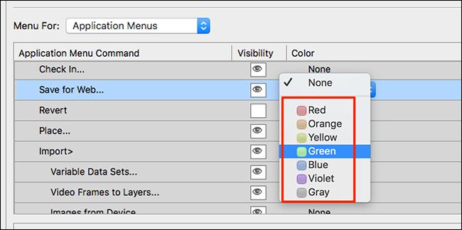 قم بتطبيق لون على عنصر قائمة Photoshop