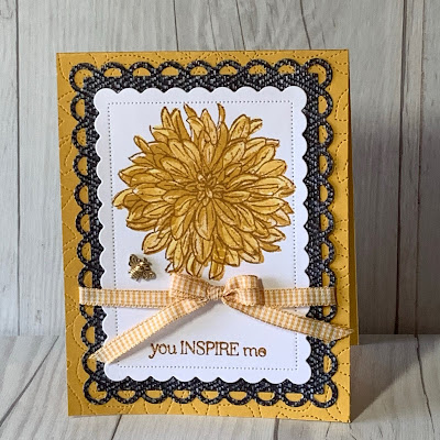 Floral handmade greeting card using Stampin' Up1 Delicate Dahlias Stamp set and Bumblebee Gingham Ribbon