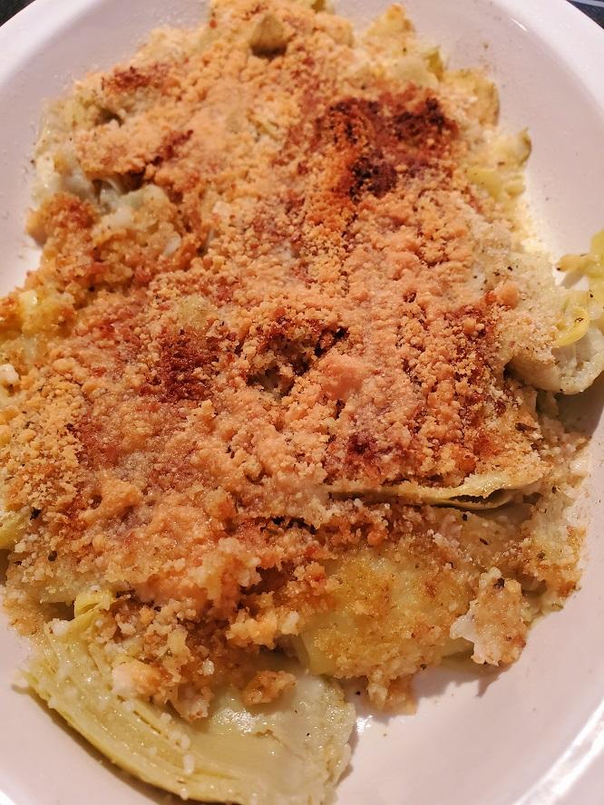 crispy bread crumb topped artichoke hearts