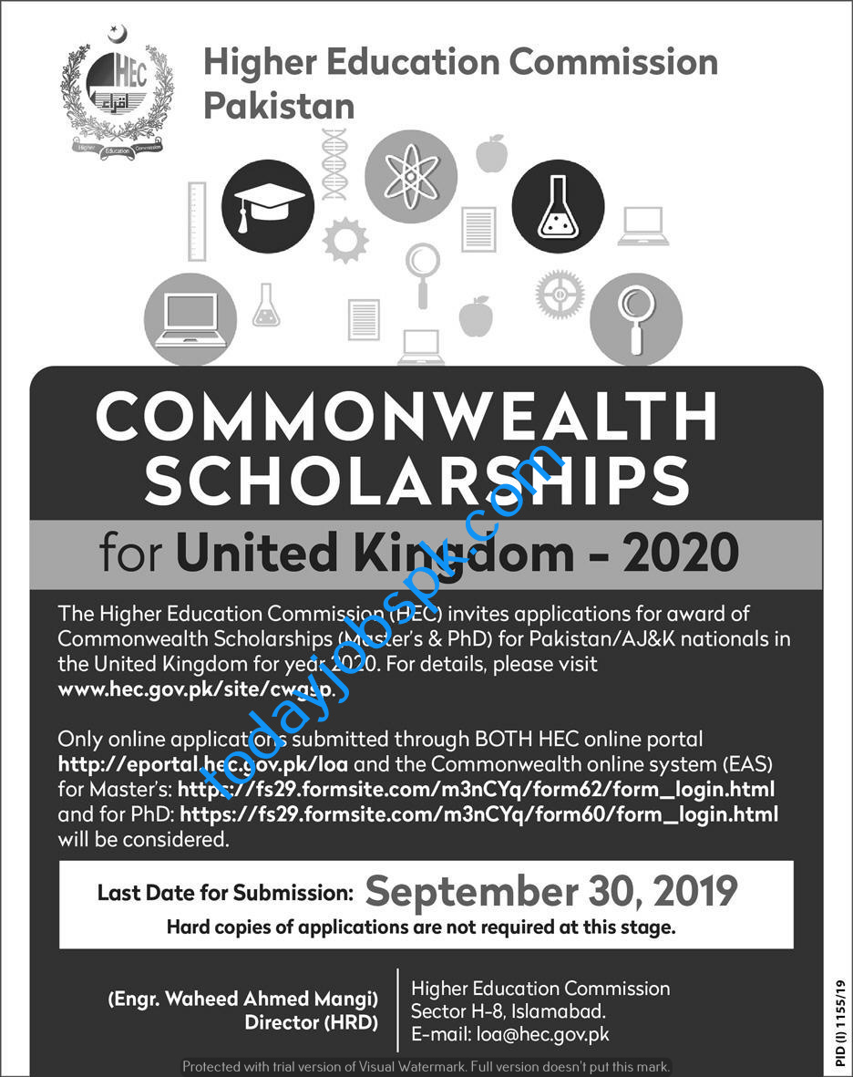 Commonwealth Scholarship for United Kingdom 2020