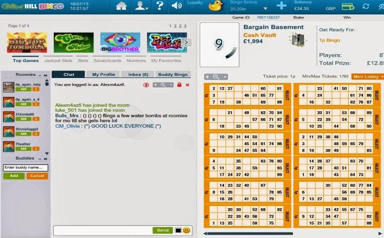 William Hill Bingo Ticket Screen
