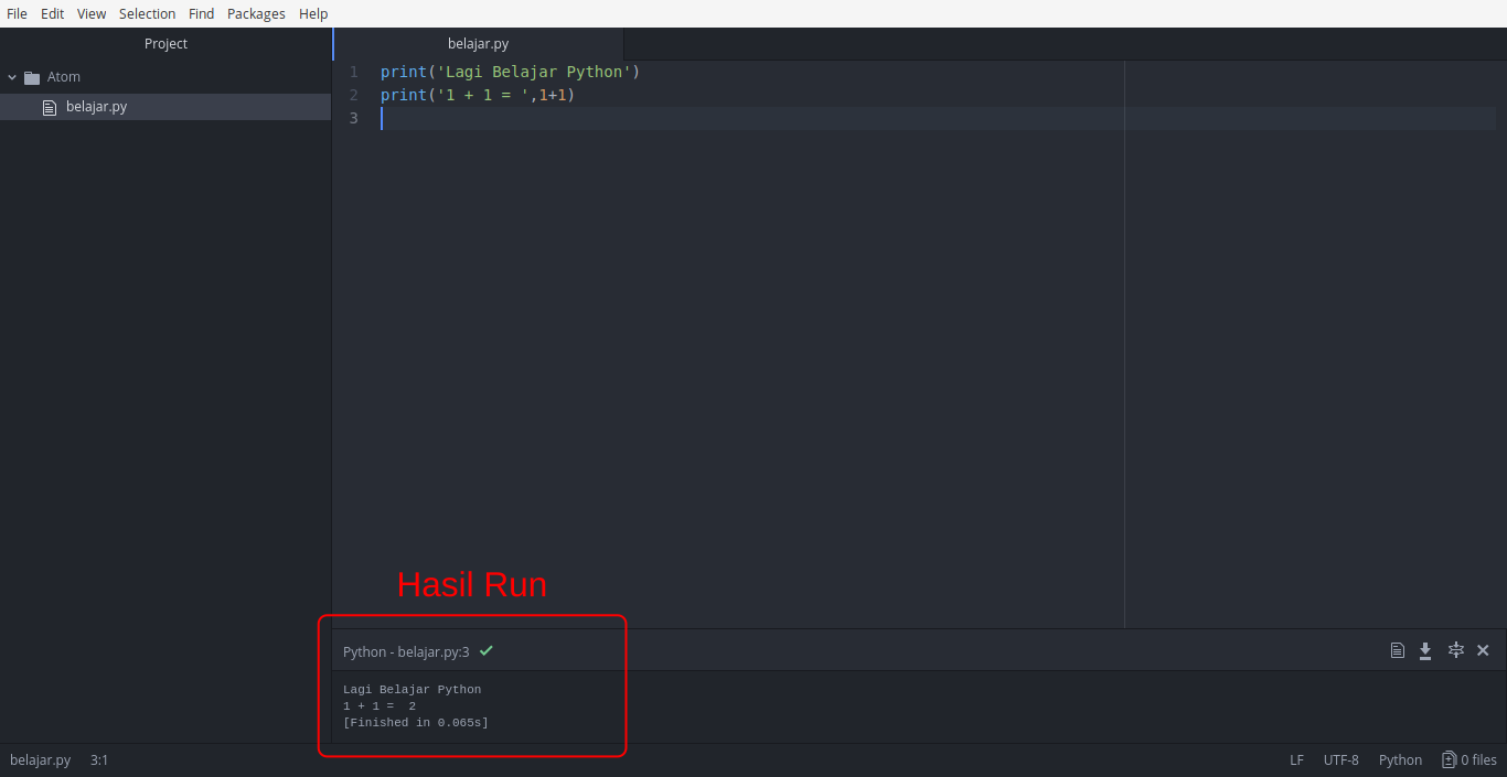 Gambar Hasil Run Python menggunakan Atom