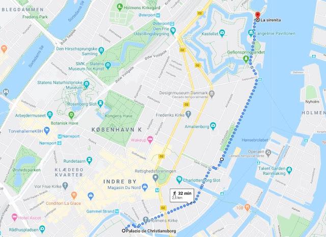 ruta andando a la Sirenita de Copenhague