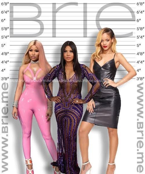 Nicki Minaj, Toni Braxton, and Rihanna height comparison