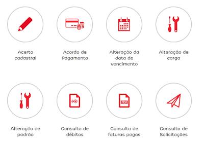 ícones dos Serviços online no site da EDP Escelsa