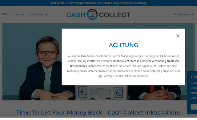 Screenshot Cash Collect GmbH Homepage, 04.06.2020