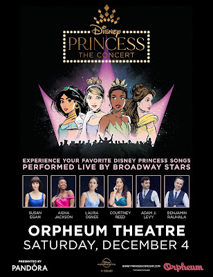 photos of performers from Disney Princess the Concert along with details on the 12/4/2021 performance at the Sioux City Orpheum Theater