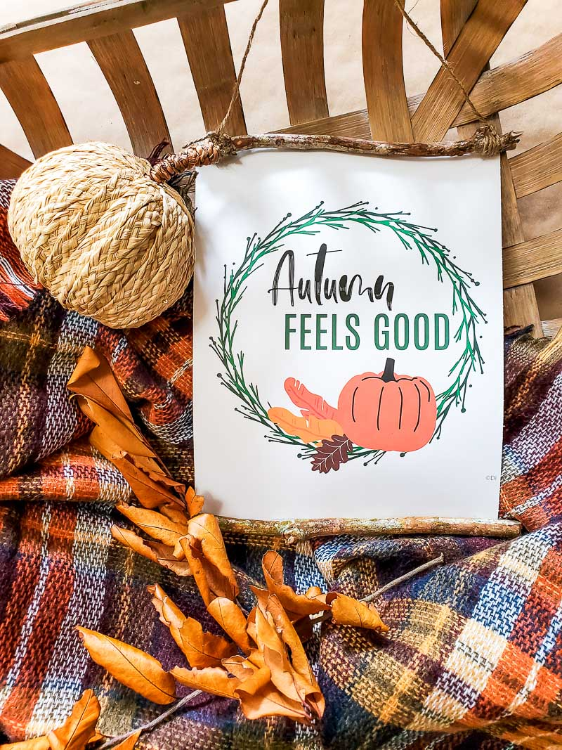 fall sign and plaid throw