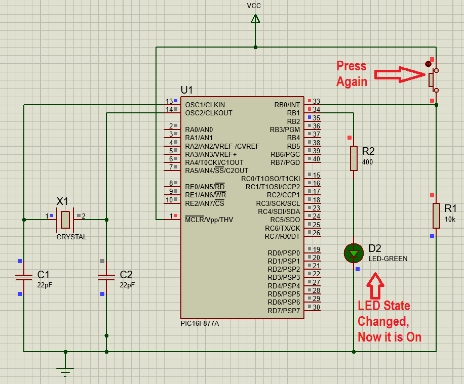 Interrupts in PIC16F877A Pic microcontroller with Push