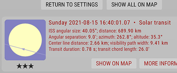 ISS Transit prediction for Irvine area for August 15 (Source: https://transit-finder.com)