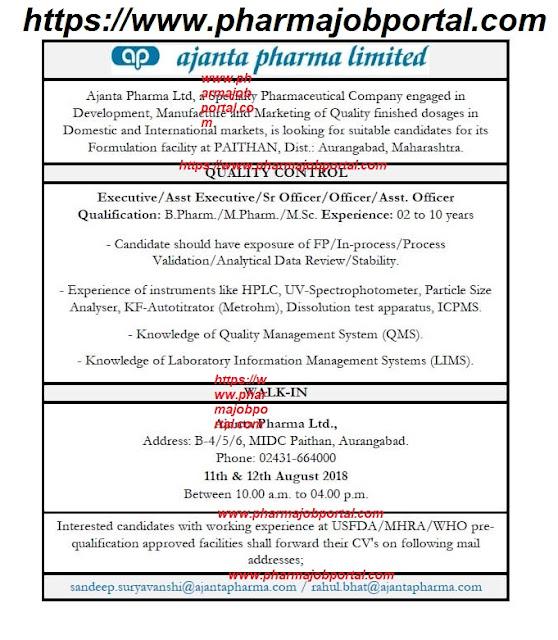 Ajanta Pharma Limited Walk In Interviews For B.Pharm, M.Pharm, M.Sc at 11&12 Aug.