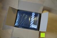 """Verpackung öffnen: ZOLLNER hochwertiges Strandlaken / Strandtuch / Badetuch 100x200 cm marine-weiß, in weiteren Farben erhältlich, direkt vom Hotelwäschehersteller, Serie """"Marina"""""""