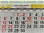 Malayalam Calendar. September,2020.