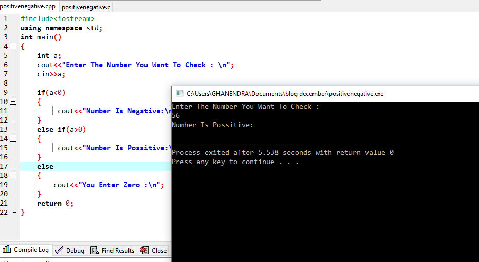 C++ Program To Check Number Is Positive Or Negative