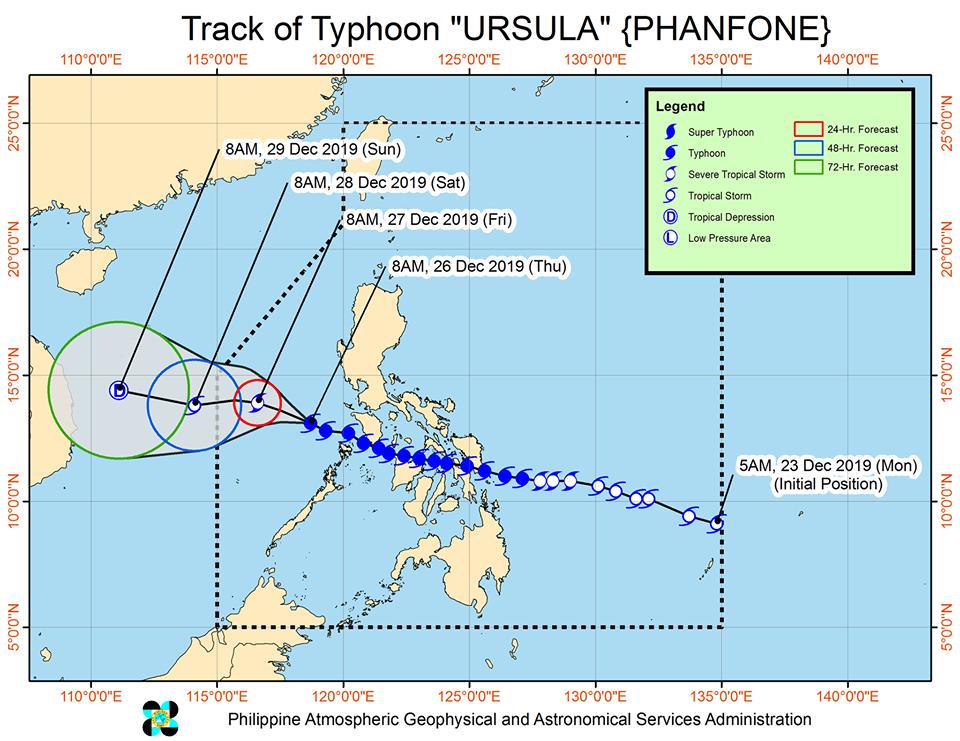Latest track of Severe Typhoon 'Ursula'   via DOST-PAGASA