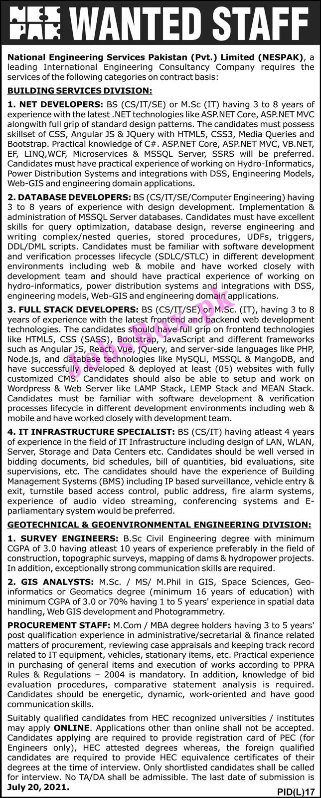 www.nespak.com.pk Jobs 2021 - National Engineering Services Pakistan NESPAK Jobs 2021 in Pakistan